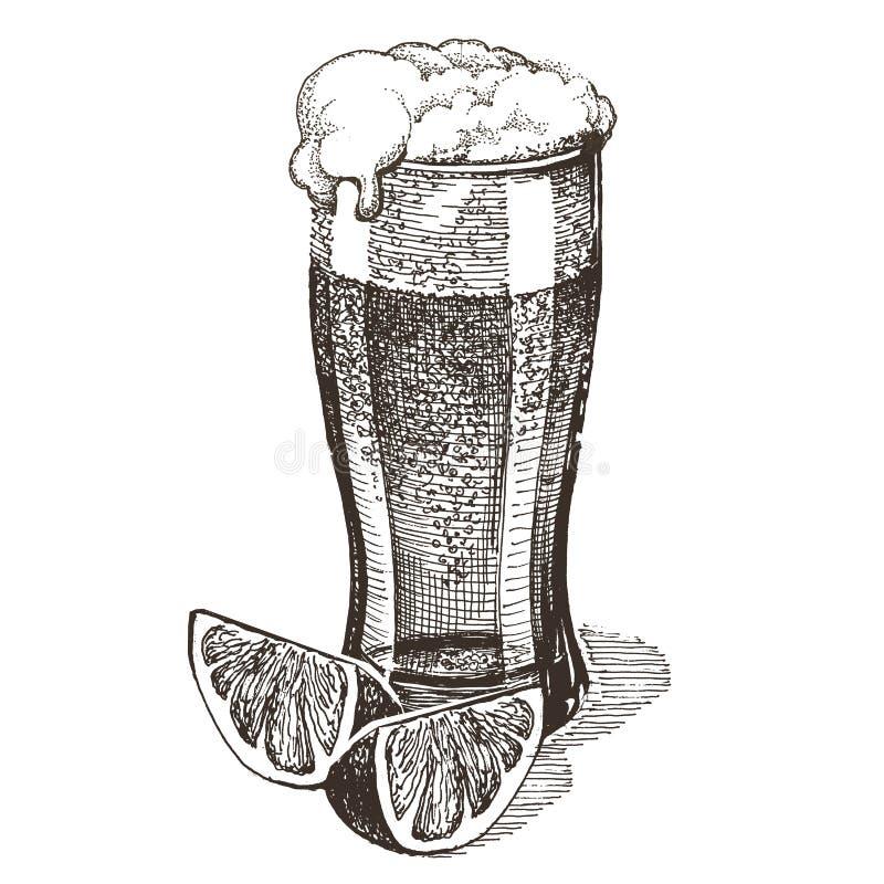 Verre de calibre de conception de logo de vecteur de bière alcool illustration de vecteur