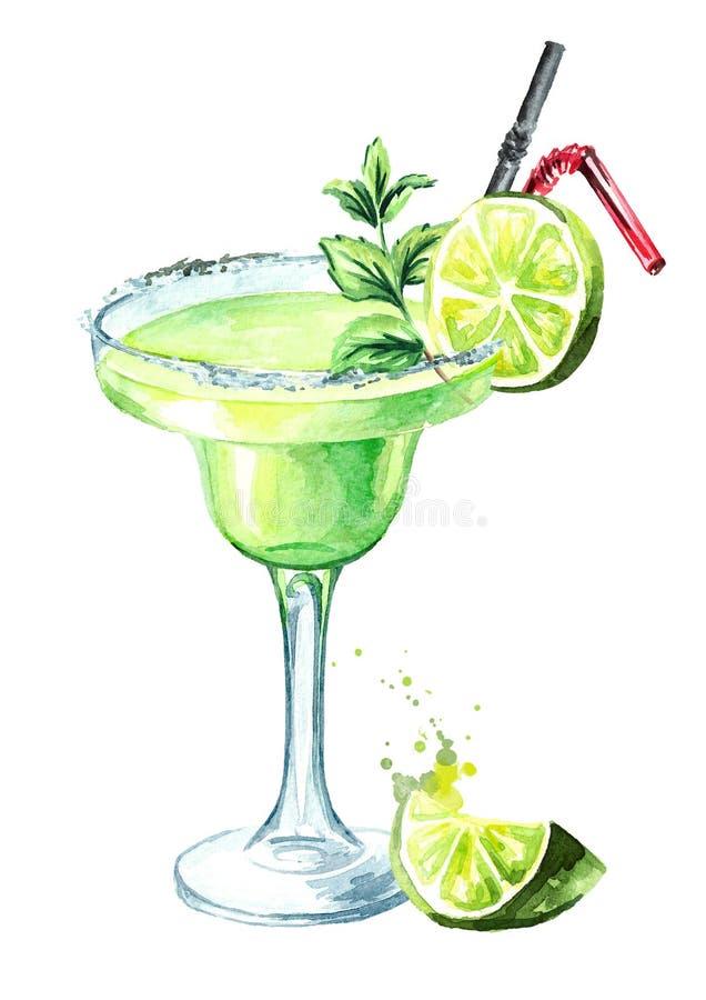 Verre de cocktail de margarita de classiques avec la chaux, la menthe, la glace et le sel illustration tirée par la main d'aquare illustration libre de droits