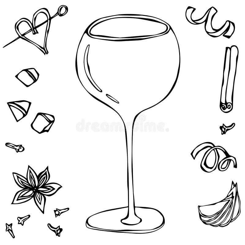 Verre de cocktail surdimensionné de vin Illustration tirée par la main de vecteur illustration libre de droits