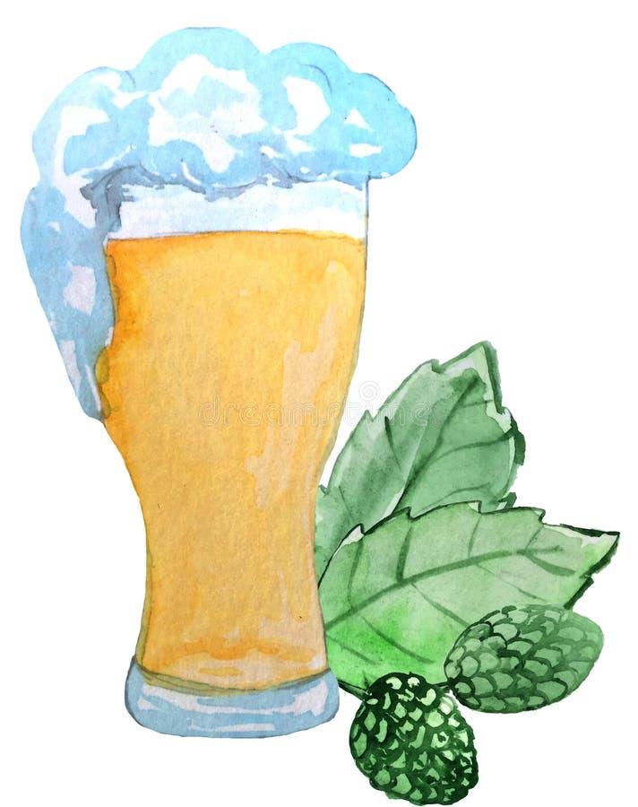 Verre de feuilles fraîches mousseuses de bière et d'houblon sur un fond blanc illustration d'aquarelle pour des affiches illustration de vecteur