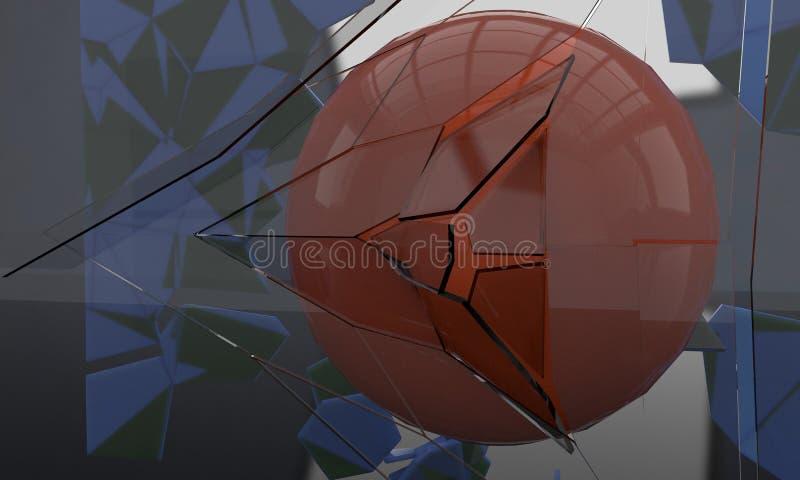 Verre de fracture de sphère, 3d illustration libre de droits