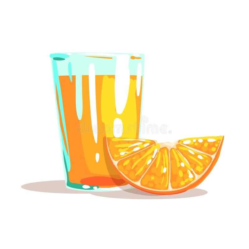 Verre de Juice And Slice Of Orange orange frais à côté de lui illustration lumineuse de style frais illustration libre de droits