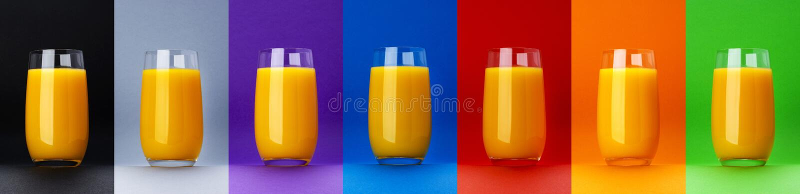 Verre de jus d'orange d'isolement sur différents milieux de couleur, jus d'agrumes frais, cocktail orange, plan rapproché photo libre de droits