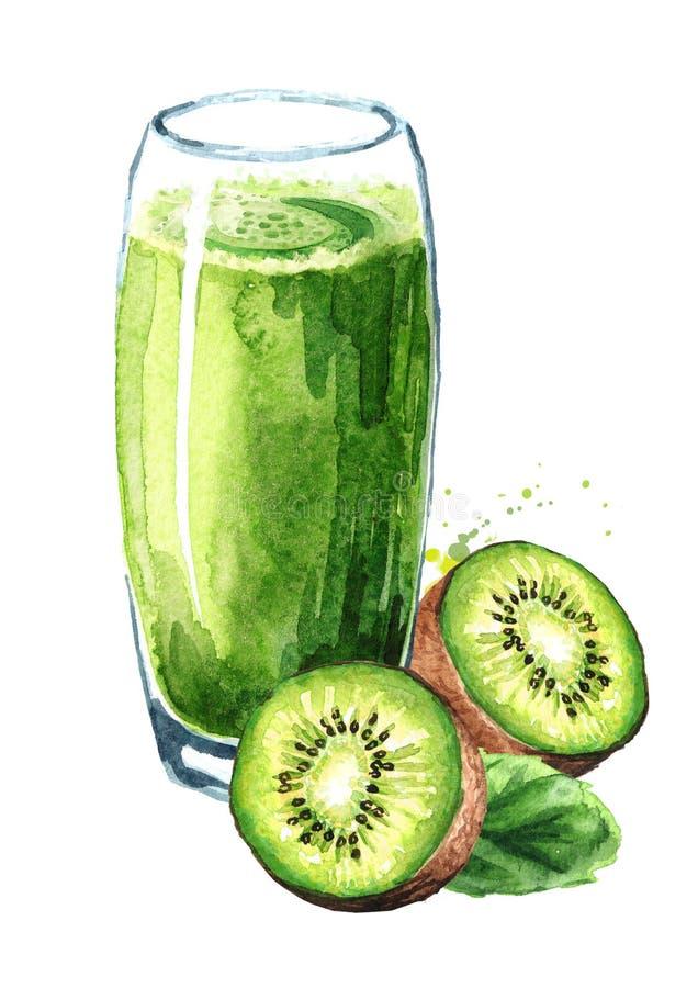 Verre de jus et de fruits frais de kiwi Illustration tirée par la main d'aquarelle d'isolement sur le fond blanc illustration de vecteur