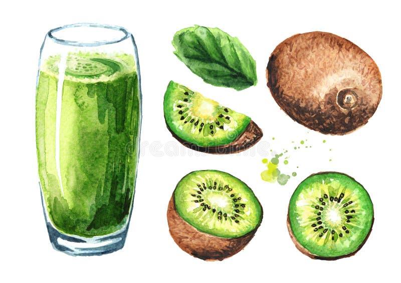 Verre de jus de kiwi et d'ensemble de fruits frais Illustration tirée par la main d'aquarelle d'isolement sur le fond blanc illustration de vecteur
