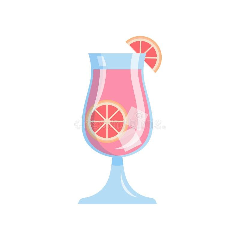 Verre de jus de pamplemousse tropical savoureux frais avec des glaçons illustration stock