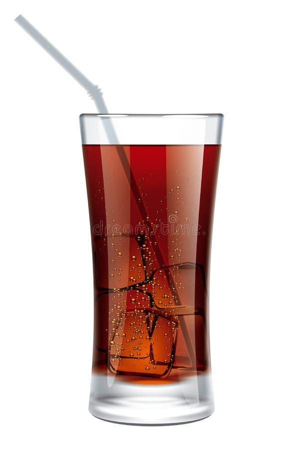 Verre de kola avec des bulles illustration de vecteur