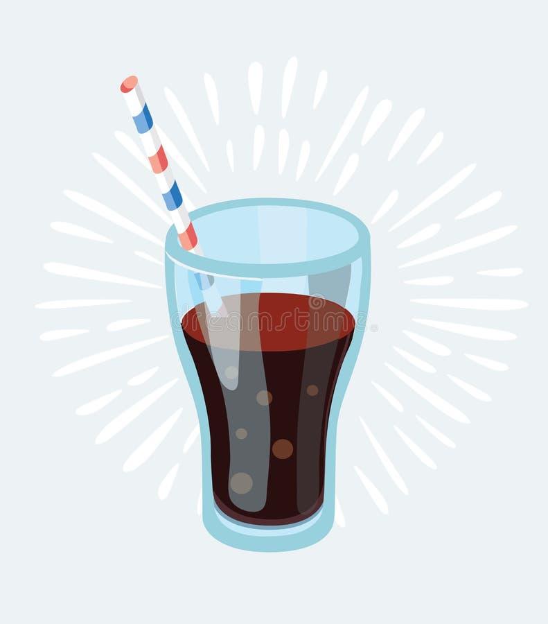 Verre de kola avec des glaçons d'isolement sur l'illustration photo-réaliste bleue de vecteur illustration de vecteur