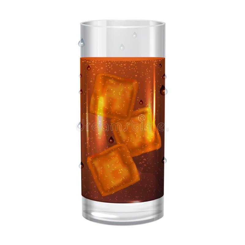 Verre de kola avec des glaçons, soude de boissons Illustration de vecteur illustration libre de droits