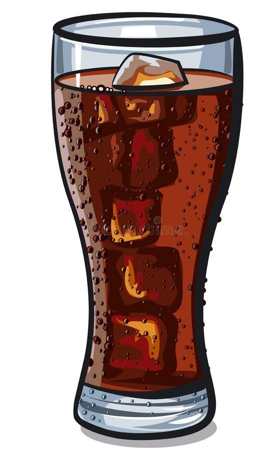 Verre de kola avec le glaçon illustration de vecteur