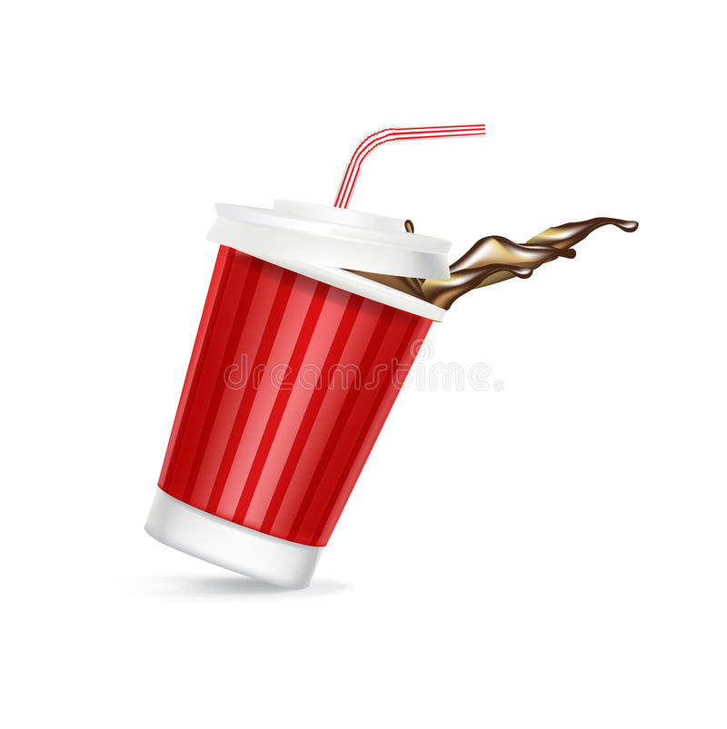 Verre de kola avec le renversement de chapeau et de paille illustration de vecteur