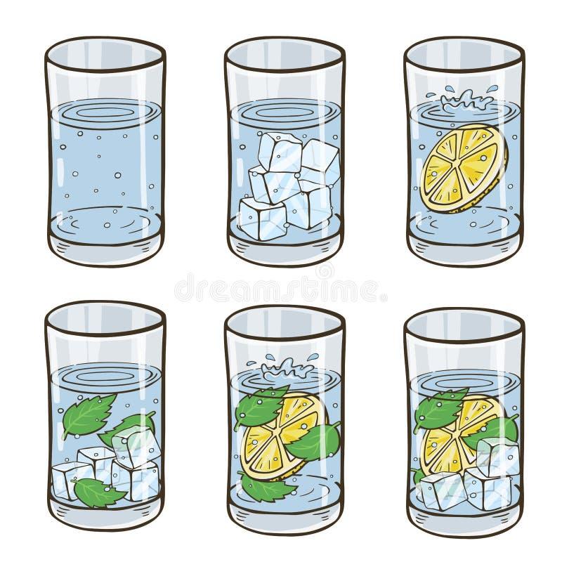 Verre de l'eau avec les glaçons, le citron et la menthe Ensemble régénérateur de cocktails L'eau pure saine illustration de vecteur