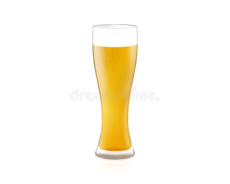 verre de l'illustration 3D de bière blonde d'isolement sur le backgroun blanc photo libre de droits