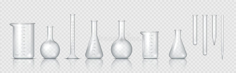 Verre de laboratoire Bécher de laboratoire réaliste, fiole de verre et autres contenants chimiques, équipement médical de mesure  illustration stock