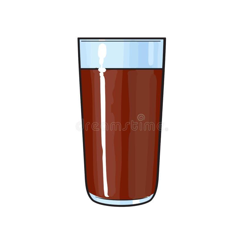 Verre de lait chocolaté, boisson de cacao, illustration tirée par la main de vecteur illustration libre de droits