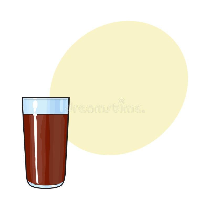 Verre de lait chocolaté, boisson de cacao, illustration tirée par la main de vecteur illustration de vecteur