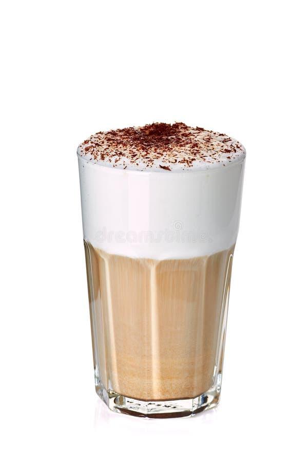 Verre de latte de café sur le blanc photographie stock libre de droits
