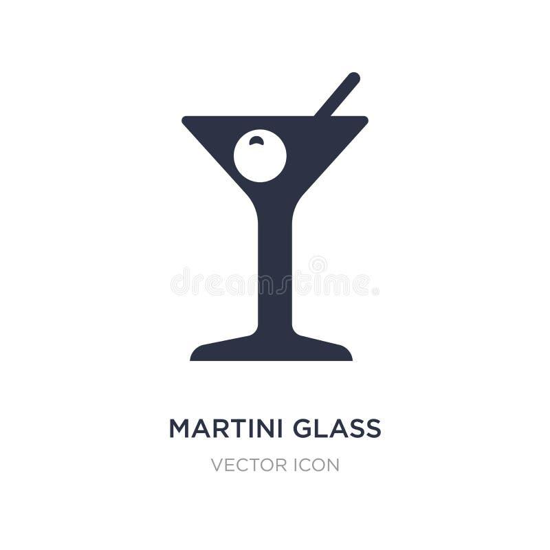 verre de martini avec l'icône olive sur le fond blanc Illustration simple d'élément de concept de partie illustration stock