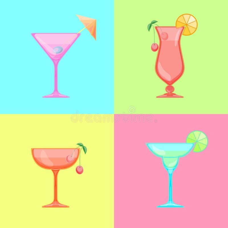 Verre de Martini avec le parapluie d'olive et de cocktail illustration de vecteur