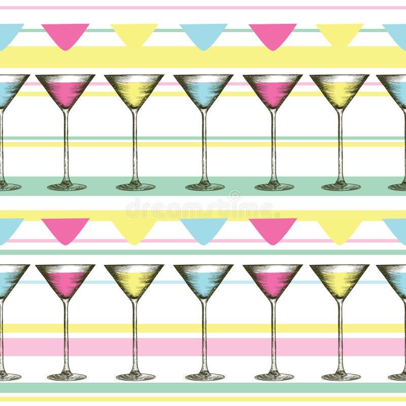 Verre de Martini avec les boissons colorées dans le style gravé Modèle sans couture des verres sur le fond rayé