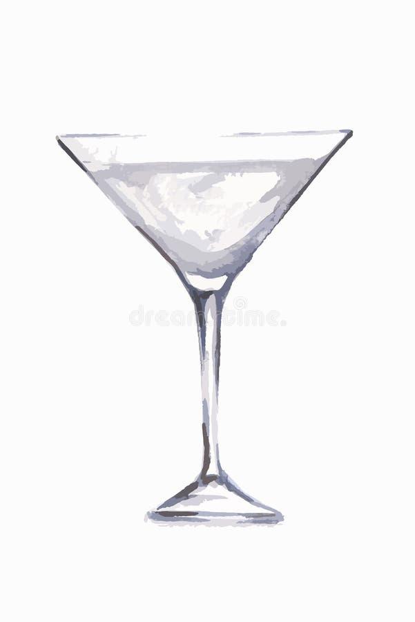 Verre de martini d'aquarelle illustration libre de droits
