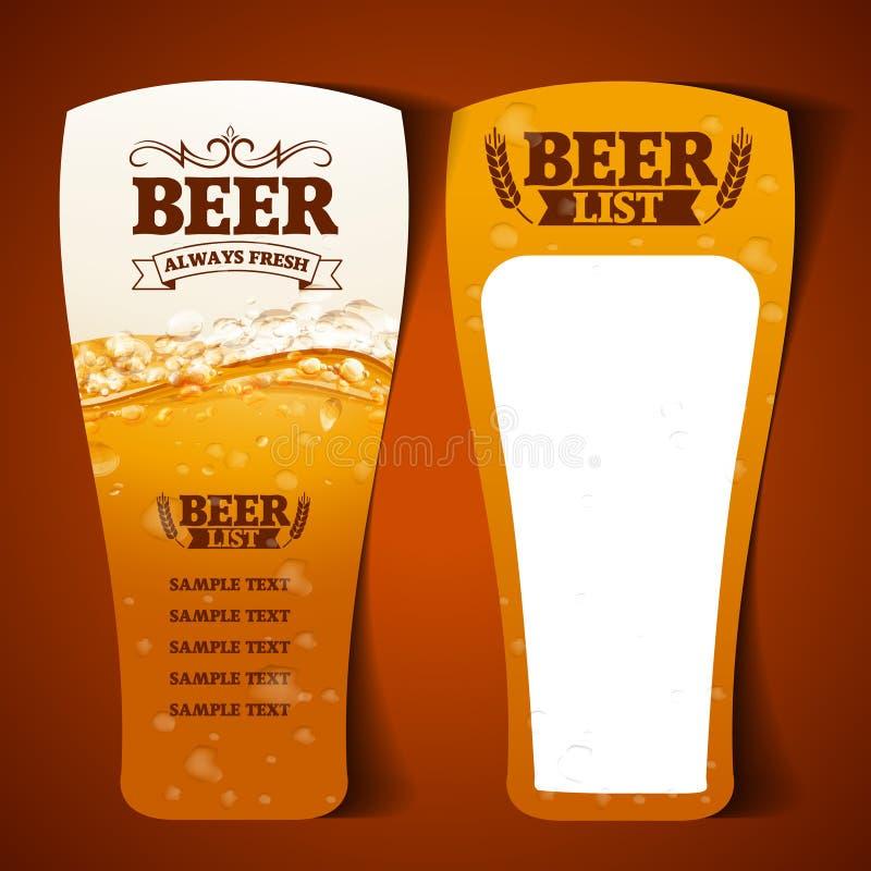 Verre de menu de bière illustration stock