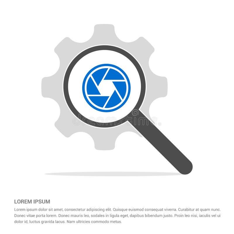 Verre de recherche d'icône d'objectif de caméra avec le calibre d'icône de symbole de vitesse illustration stock