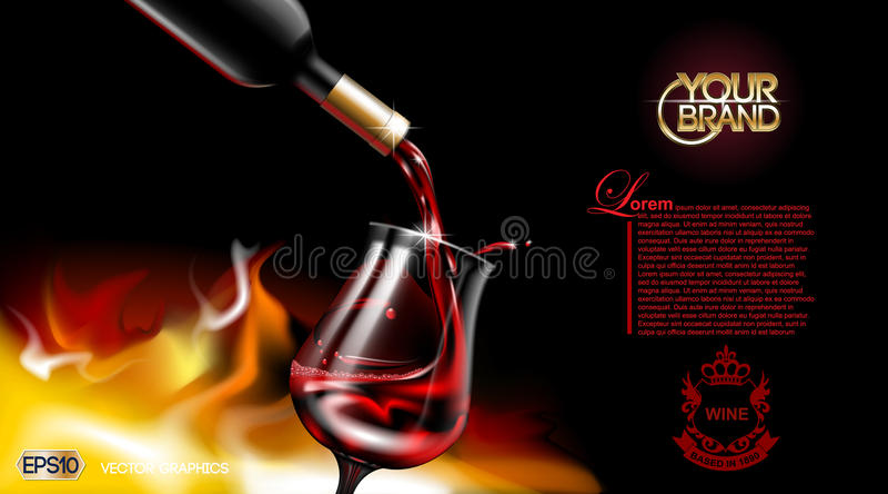Verre de versement réaliste de vin rouge de vecteur Le logo font de la publicité faux haut Fond vibrant avec l'endroit pour votre illustration de vecteur