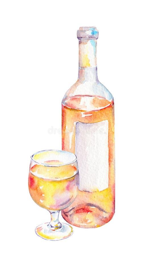 Verre de vin, bouteille avec du vin rose watercolor illustration libre de droits