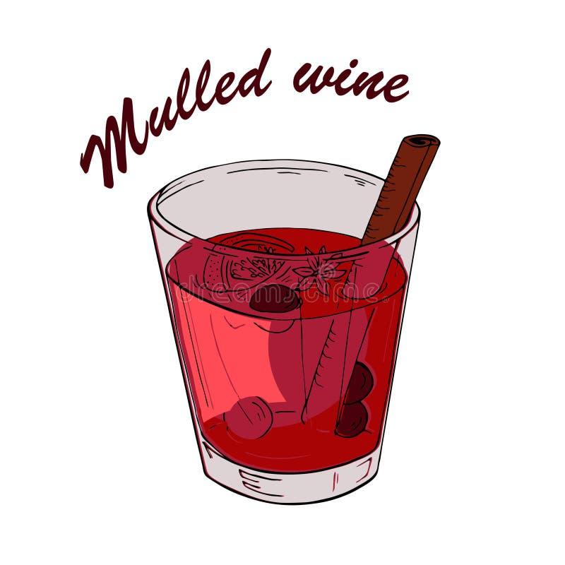 Verre de vin chaud rouge Croquis de vecteur illustration de vecteur