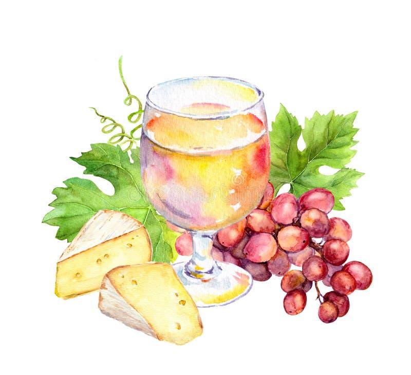 Verre de vin rose, feuilles de vigne, fromage et baies de raisin watercolor illustration stock