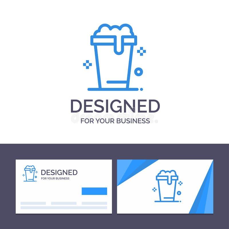 Verre de visite de calibre créatif de carte de visite professionnelle et de logo, soupe, lavage, illustration de vecteur de netto illustration de vecteur