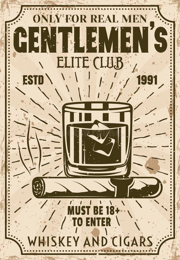 Verre de whiskey avec les glaçons et l'affiche de cigare illustration libre de droits