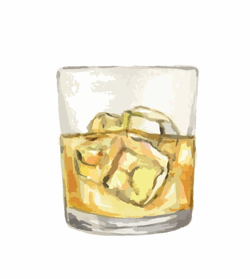 Verre de whiskey d'aquarelle illustration libre de droits