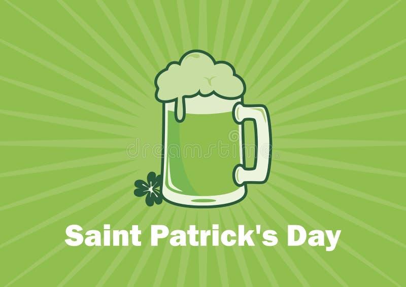 Verre du jour de St Patrick de vecteur vert de bière illustration libre de droits