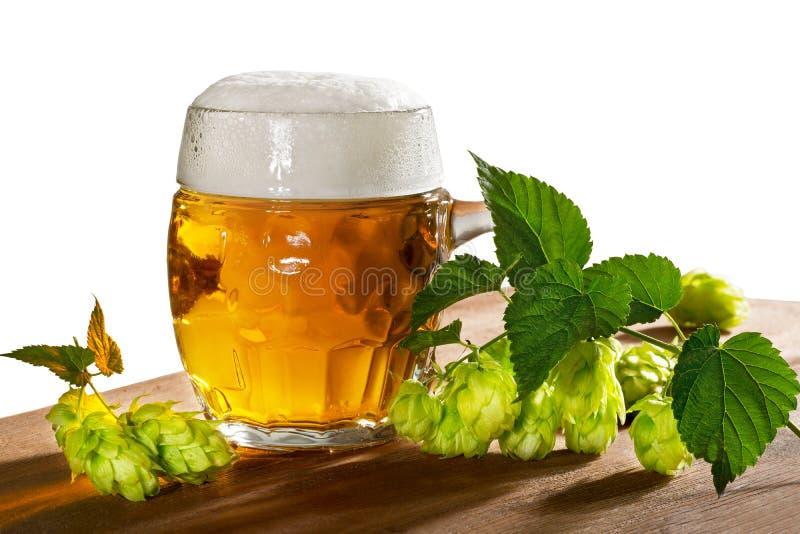 Verre et houblon de bière images stock