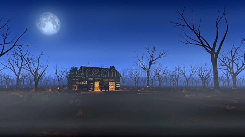 Verre houten cabine in nevelig landschap met dode bomen bij maanlicht royalty-vrije stock foto