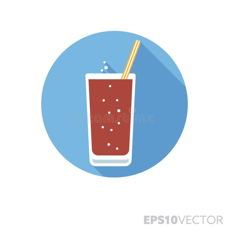Verre icône de vecteur de couleur d'ombre de conception plate de kola de longue illustration libre de droits