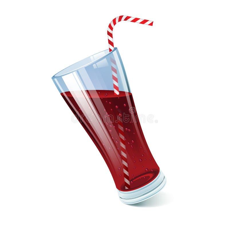 Verre incliné de kola avec la paille de cocktail illustration libre de droits