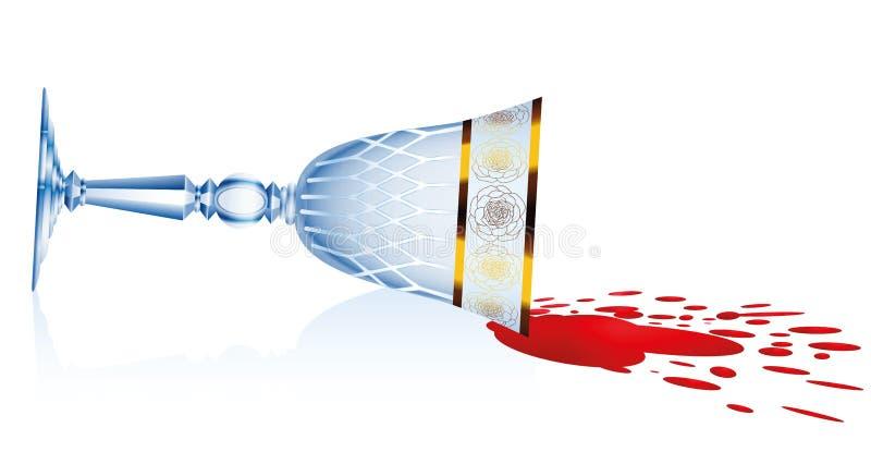 Verre incliné renversé de vin rouge illustration libre de droits
