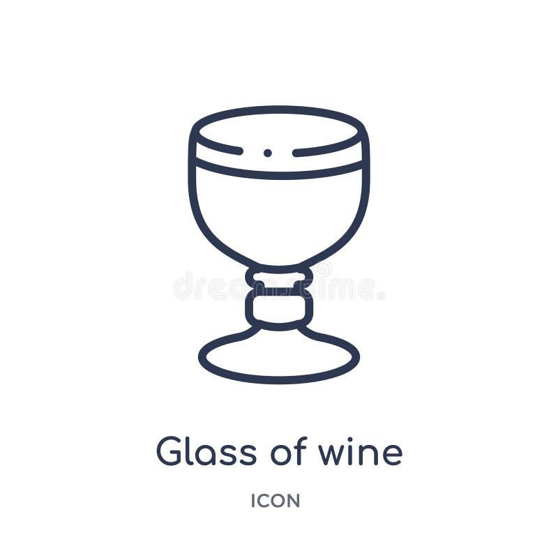 Verre linéaire d'icône de vin de collection d'ensemble de boissons Ligne mince verre de vecteur de vin d'isolement sur le fond bl illustration de vecteur