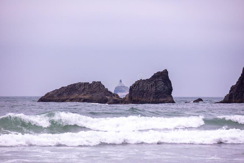 Verre mening bij Tillamook-Vuurtoren van Ecola-het park van de staat, Oregon royalty-vrije stock foto's