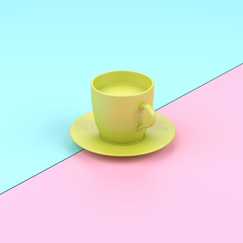 Verre minimal en pastel de conception de café illustration stock