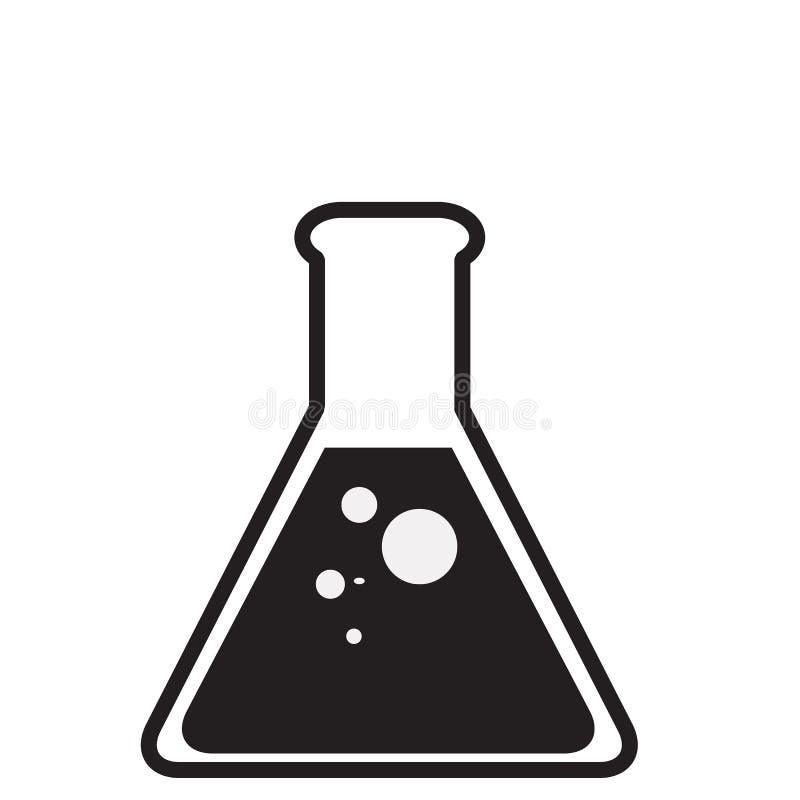 Verre noir de laboratoire sur le fond blanc Icône de tube à essai pour votre conception de site Web, logo, appli, UI Symbole de t illustration stock