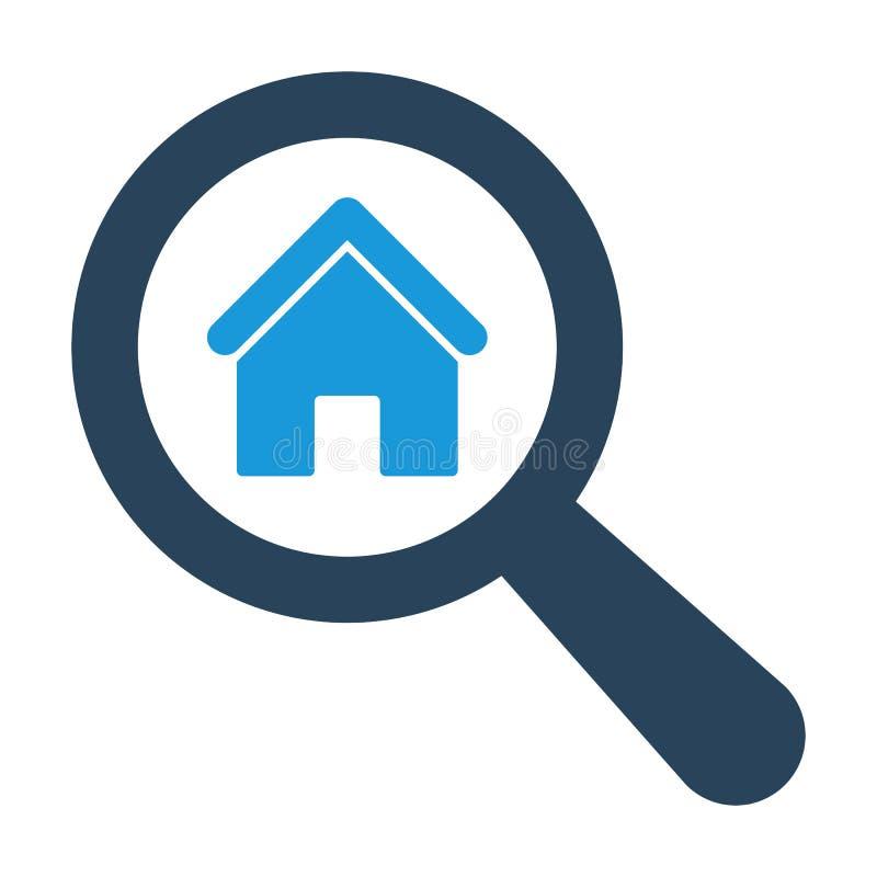 Verre optique de agrandissement avec l'icône à la maison sur le fond blanc illustration stock
