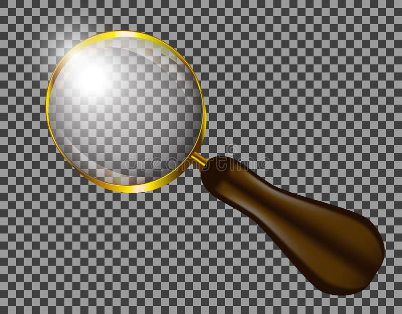 Verre réaliste Lentille de microscope d'examen minutieux de bourdonnement de rapport optique Maquette d'isolement de vecteur illustration stock