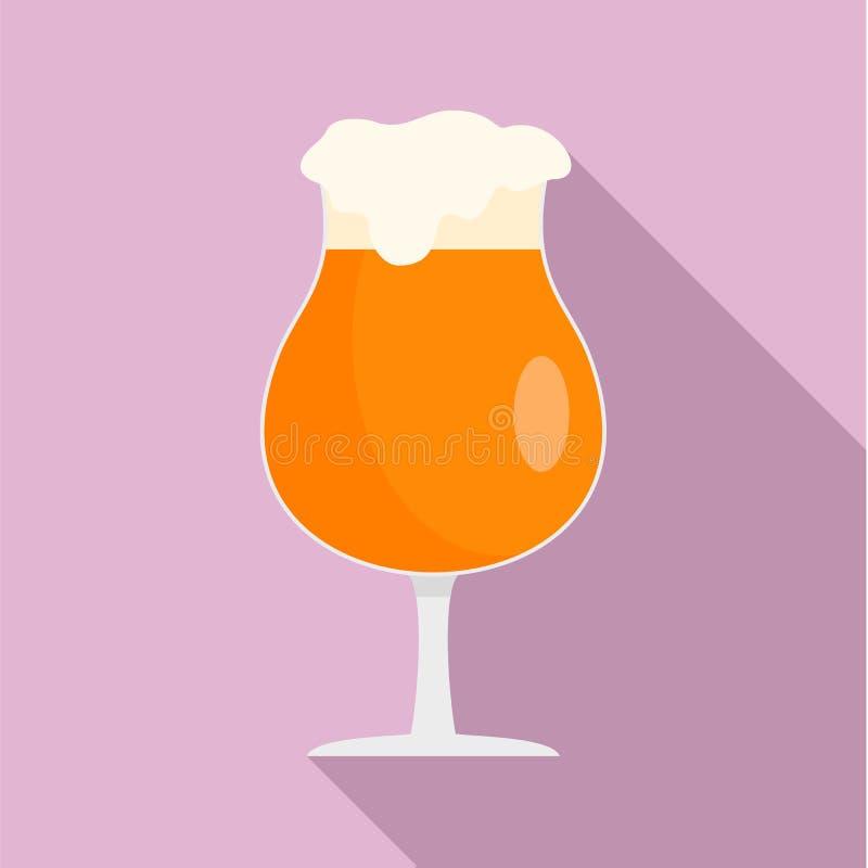 Verre rond d'icône de bière, style plat illustration stock