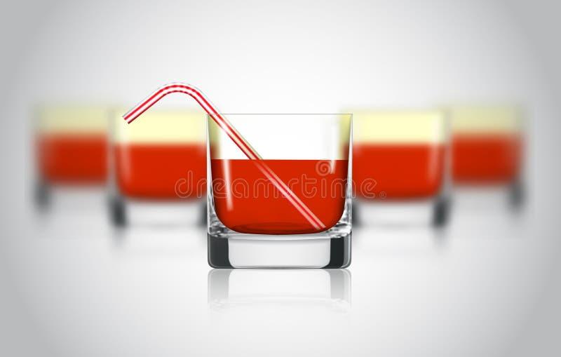 Verre rouge de jus de fruit Raisin, grenade, boisson organique de canneberge Régime sain Consommation propre Boisson en verre gra illustration libre de droits