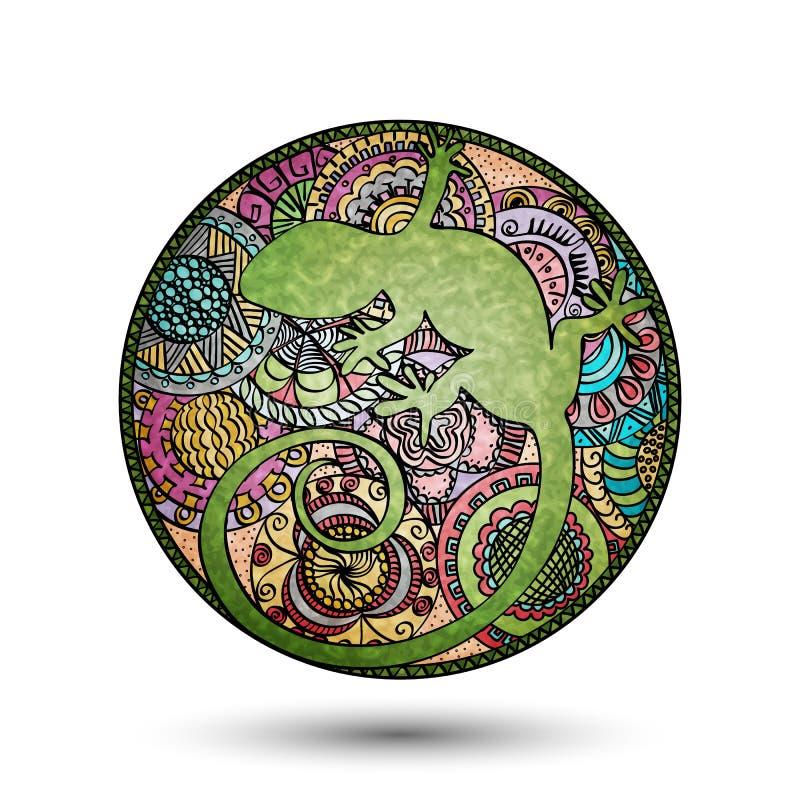 Verre souillé avec des images des lézards et de l'ornement peints à la main illustration de vecteur