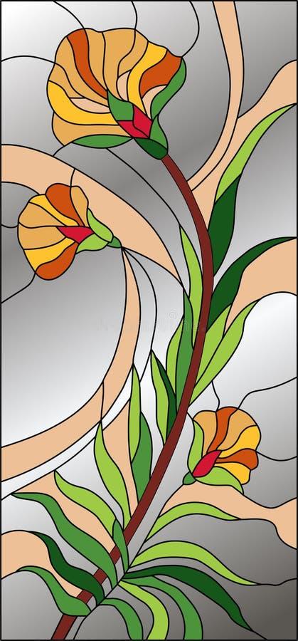 Verre souillé floral de résumé, modèle de mosaïque avec des fleurs et fond gris-clair illustration de vecteur